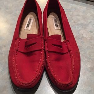 Shoes - Attitude red suede loafers
